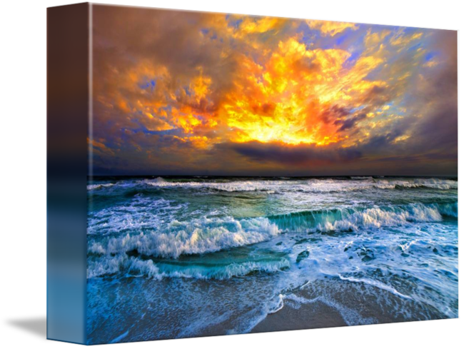 picture black and white Red Sunset over Ocean Dark Orange Sky and Waves by Eszra Tanner