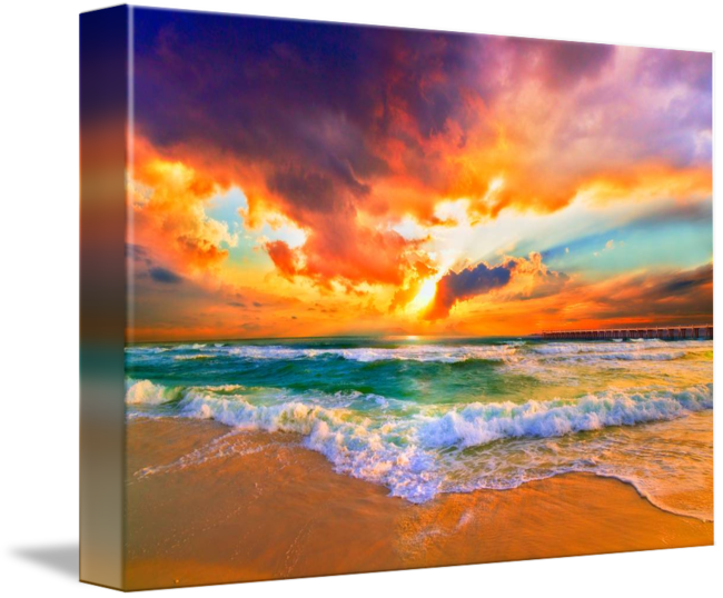 png royalty free Red Orange Purple Sunset Green Sea Waves Art Print by Eszra Tanner