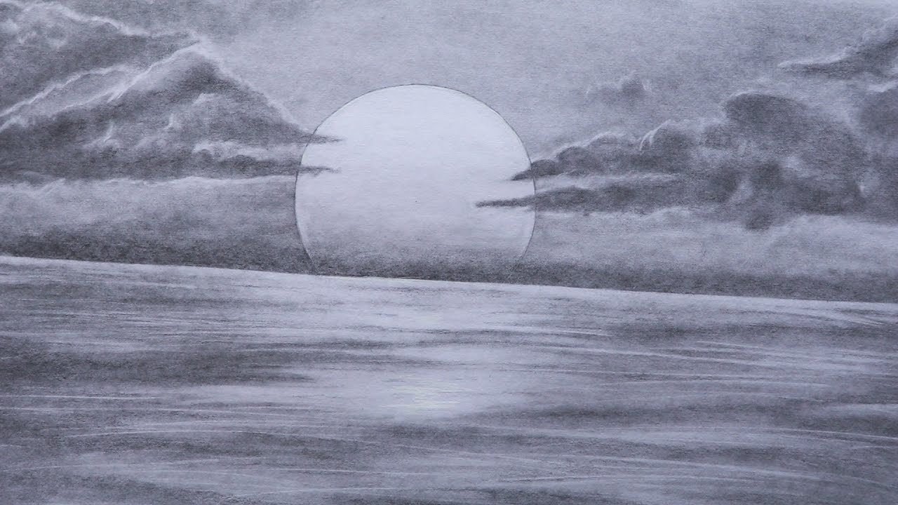 freeuse stock How to sketch . Drawing charcoal sunset