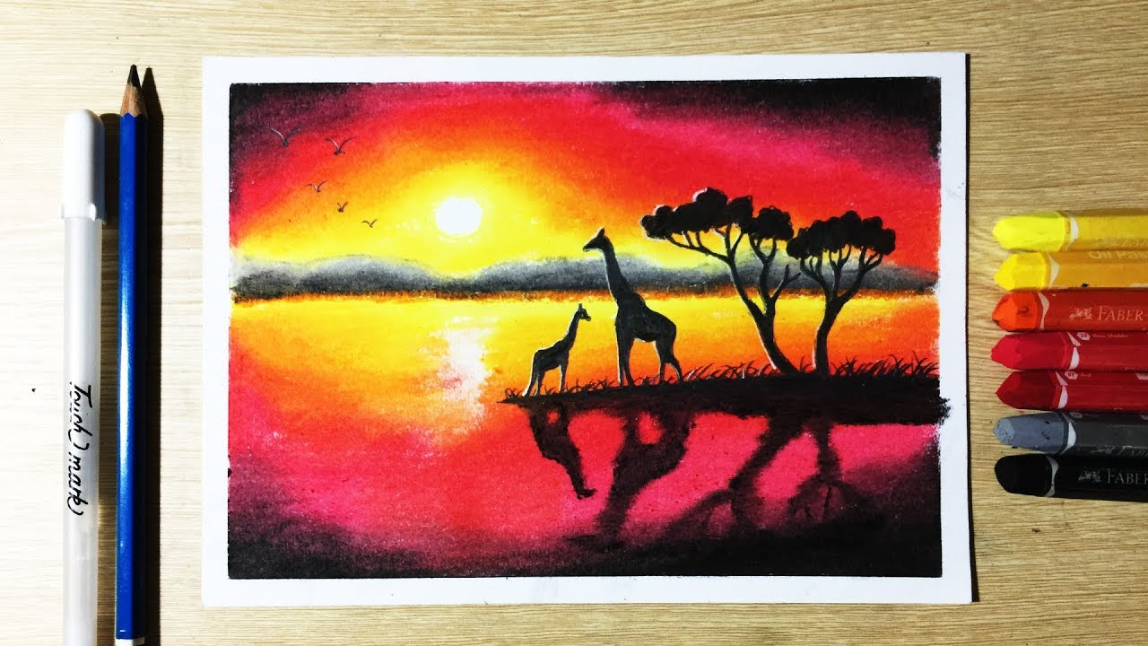 png library Beautiful Sunset Drawing with Oil Pastels step by step