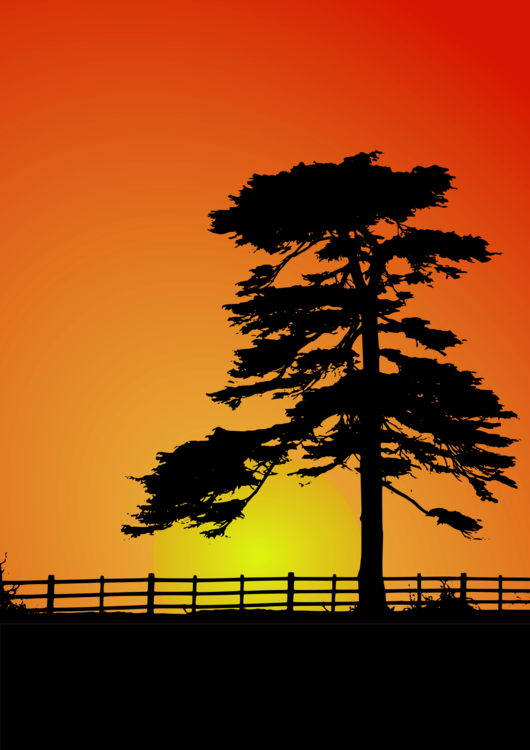 vector black and white library Fence Cedar Sunset Tree Computer Icons free commercial clipart
