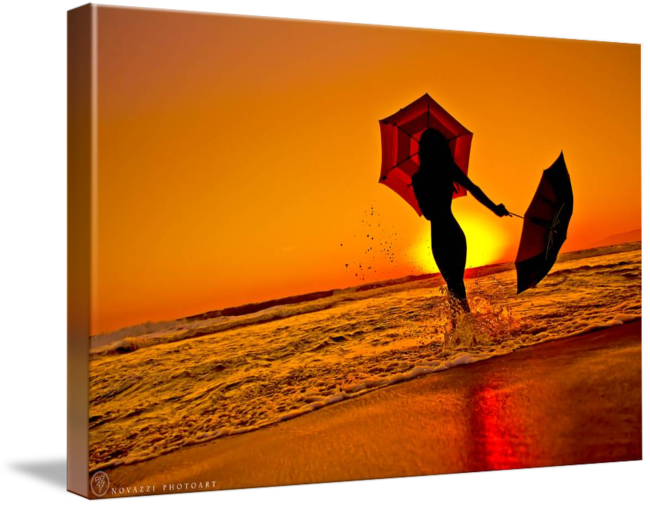 graphic royalty free library Petite Girl Holding Umbrellas in Sunset Silhouette by Jonah Z