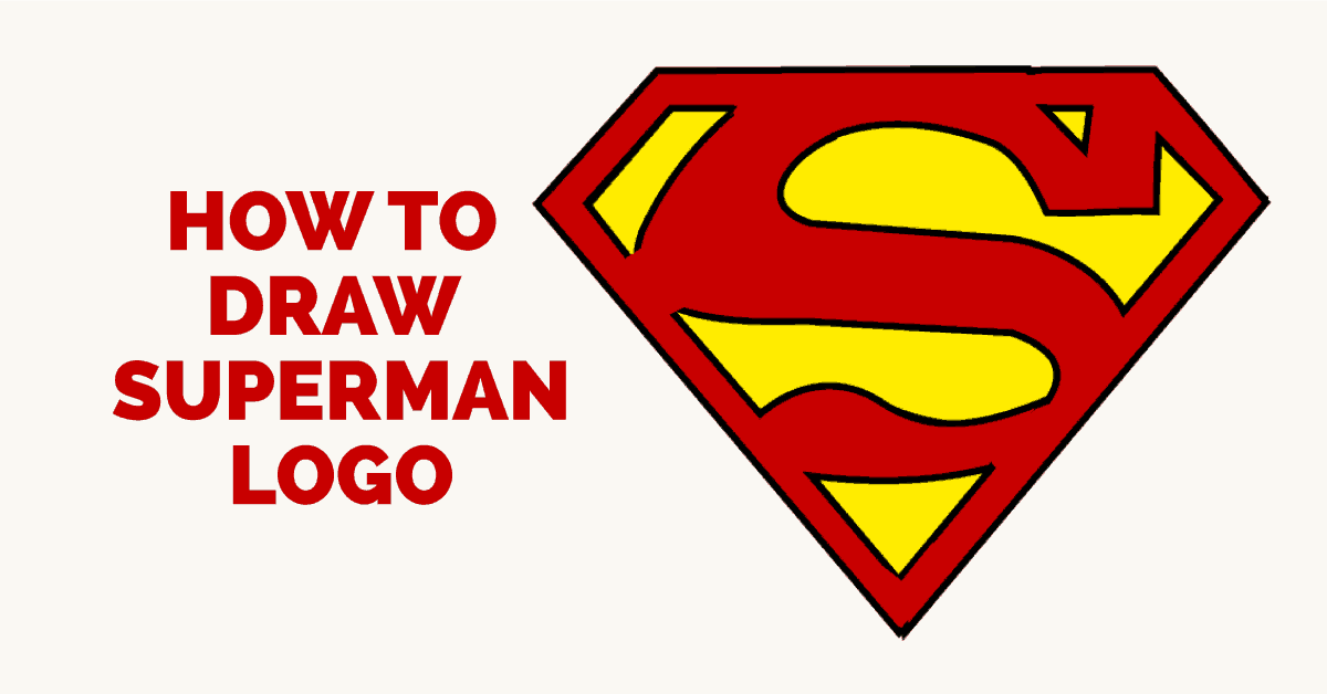 clipart black and white library Drawing superman simple. How to draw logo
