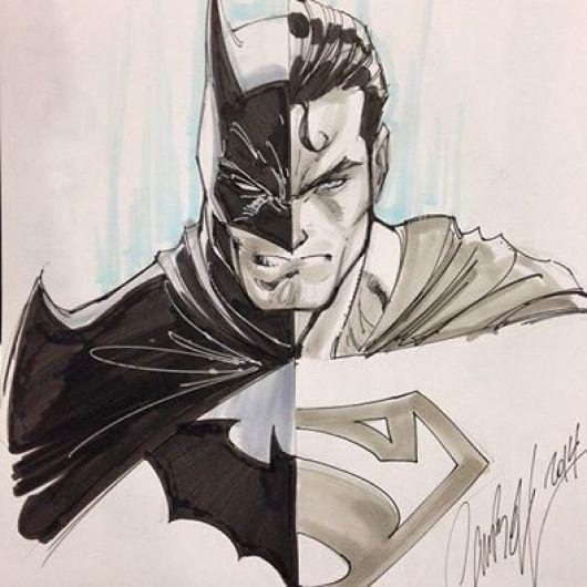 clip library Drawing superman batman vs. J scott campbell split