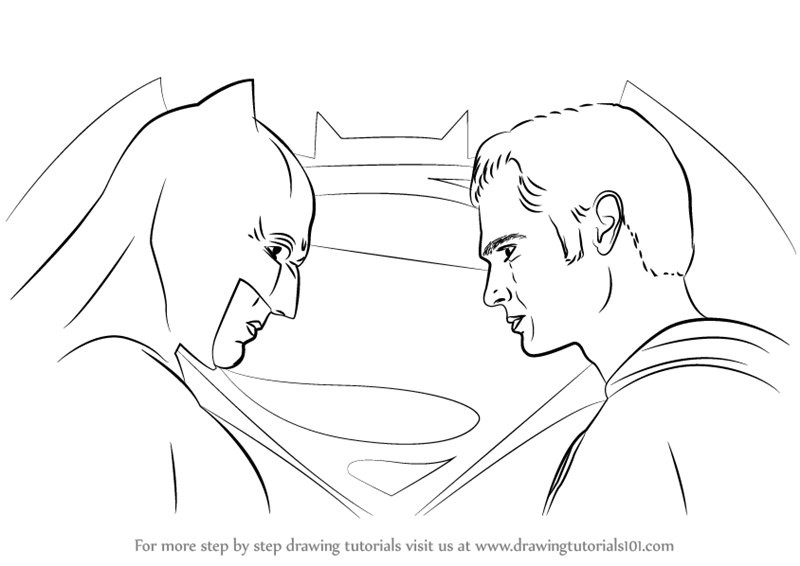 vector royalty free Learn how to draw. Drawing superman batman vs