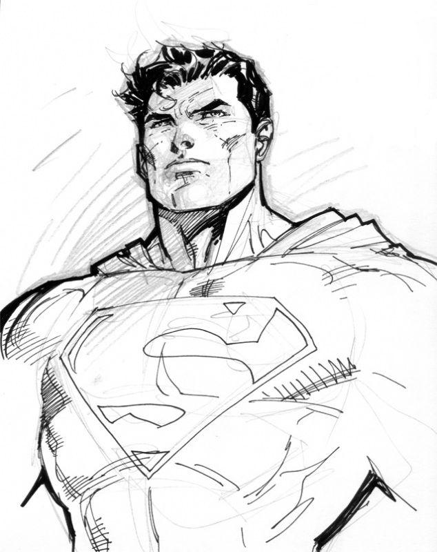 png free download Sketch by jim lee. Drawing superman comic art