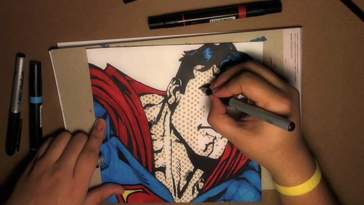 png black and white library Bleebo . Drawing superman pop art