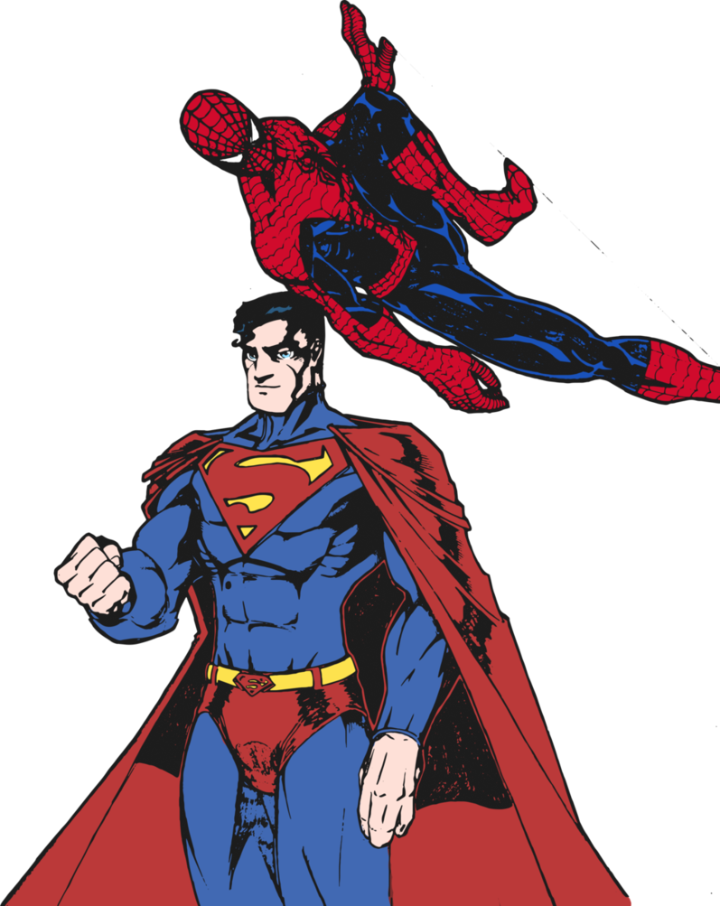 vector freeuse library And colored by edcom. Drawing superman spider man