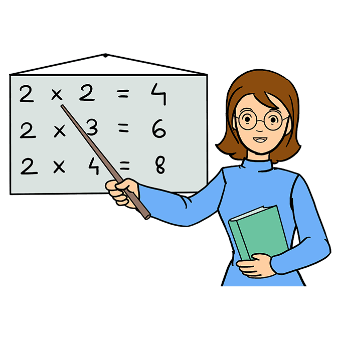 picture royalty free Drawing teacher lady. How to draw a