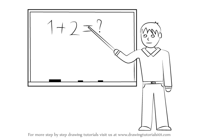 royalty free stock Drawing teacher male. Learn how to draw