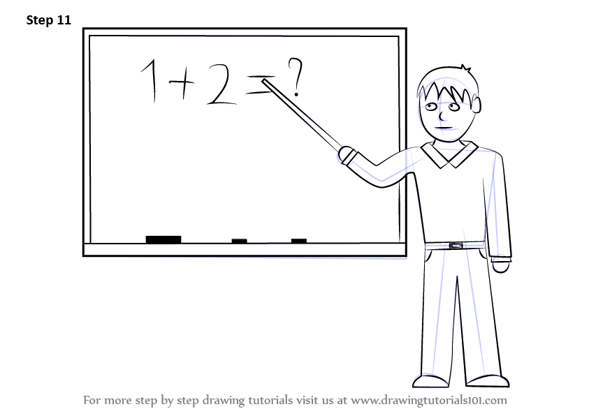 royalty free stock Learn how to draw. Drawing teacher male