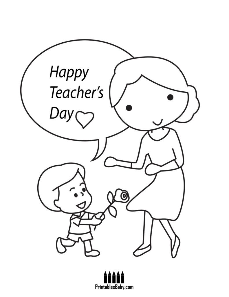 picture black and white library Drawing teacher printable. Happy teachers day appreciation