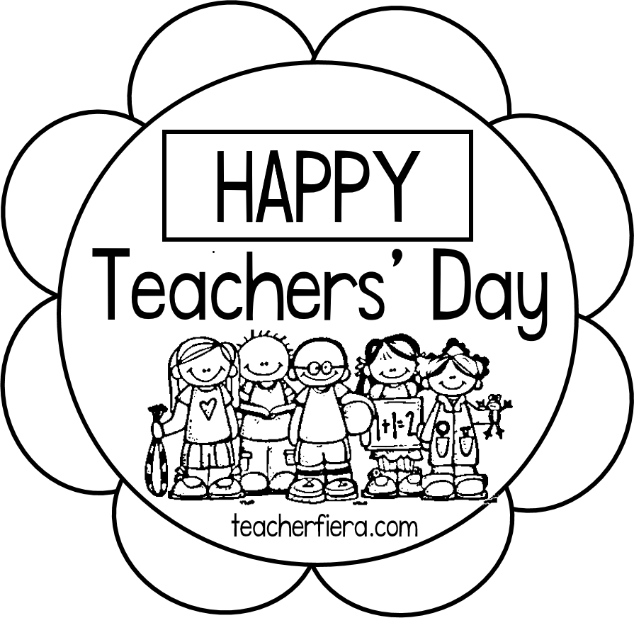 picture black and white stock Teacherfiera com happy colouring. Drawing teacher teachers day