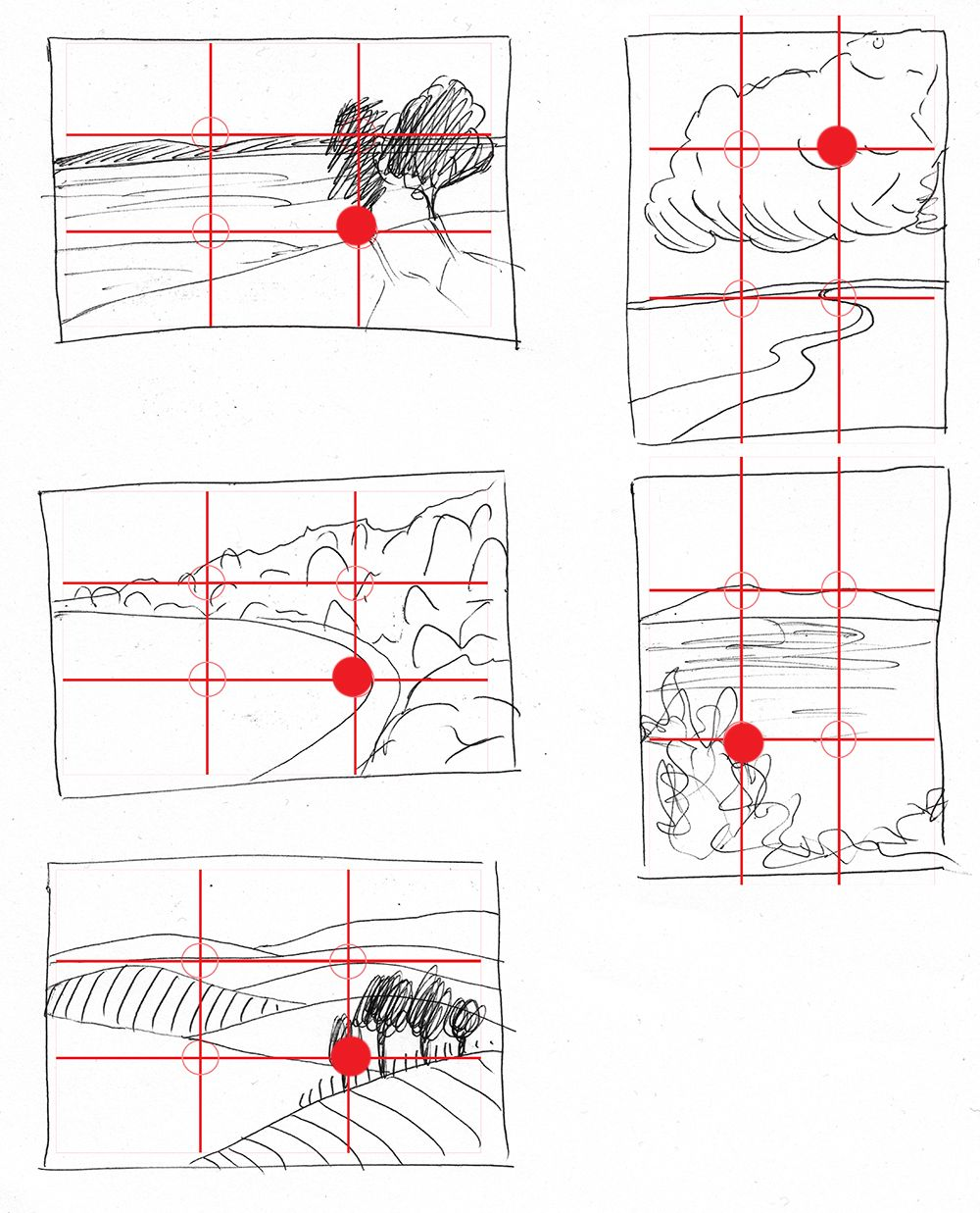 image freeuse stock Rule of thirds landscape. Drawing technique composition