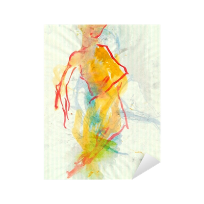 royalty free library Ballerina water colors sticker. Drawing technique watercolor
