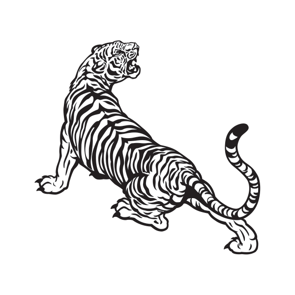 svg black and white download Printed vinyl Tiger Lineart