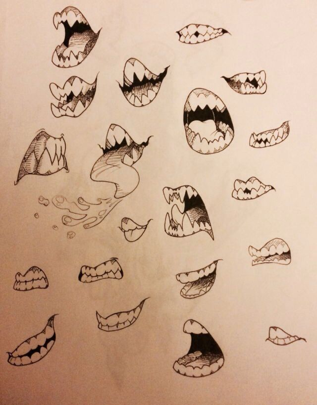clip art black and white Drawing tooth creepy. Scary cartoon mouths in