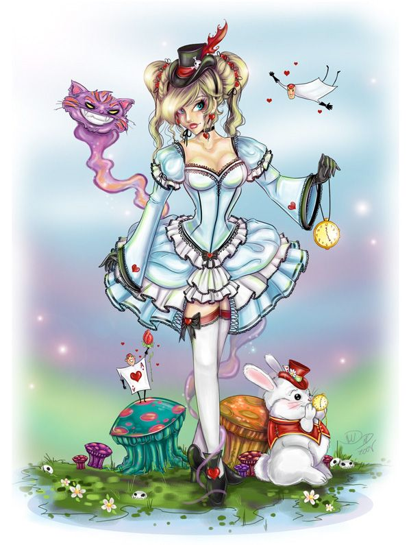 clip art free stock Art work of random. Drawing topic alice in wonderland