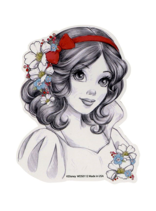 svg black and white stock Drawing topic disney princess. Snow white sketch sticker