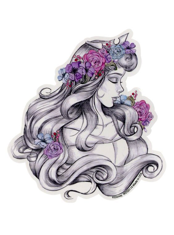 vector Sleeping beauty sketch sticker. Drawing topic disney princess