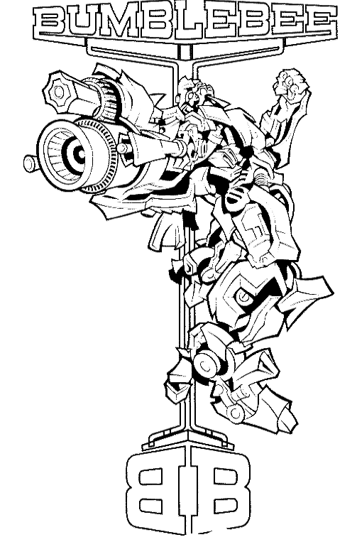 image black and white library Transformers Bumblebee Coloring Page