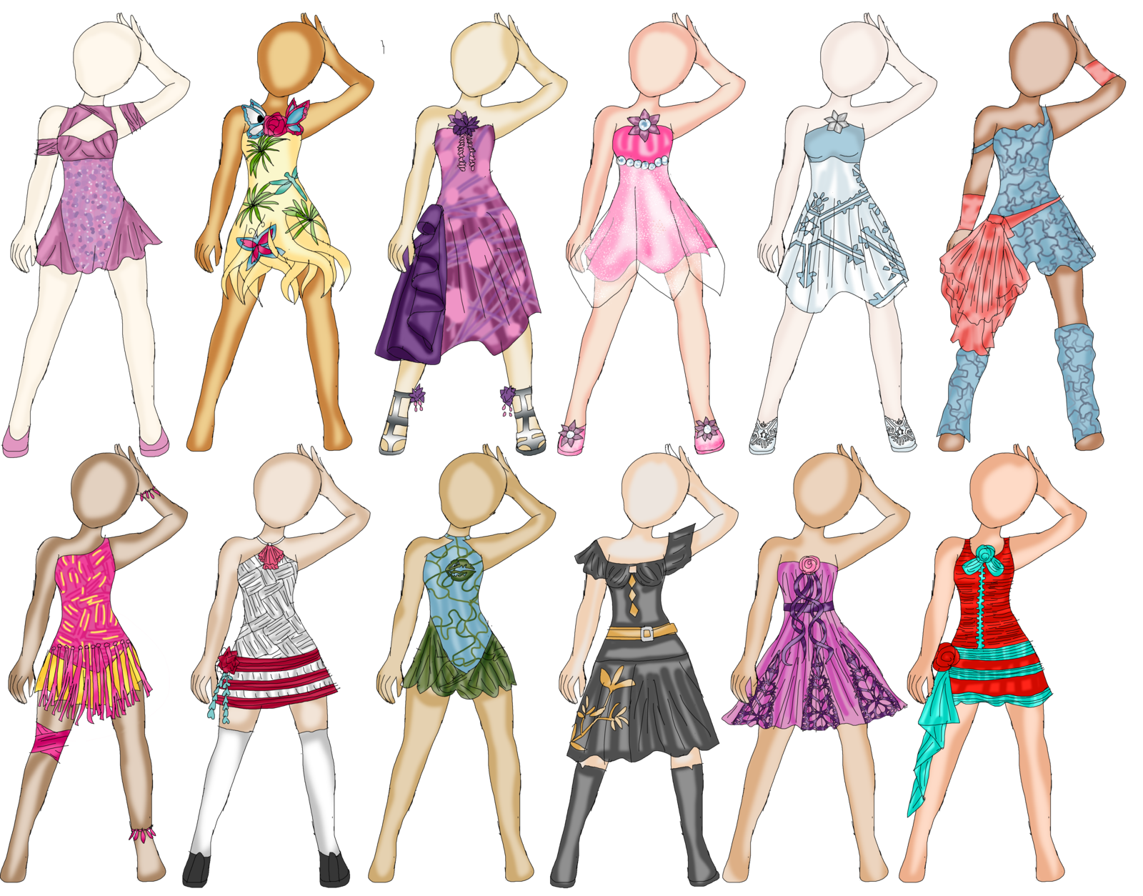 royalty free library Heavily influenced outfit designs. Drawing outfits easy