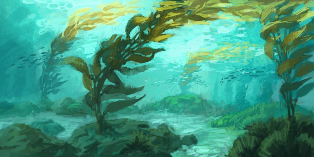 underwater painting seaweed - 1000×500