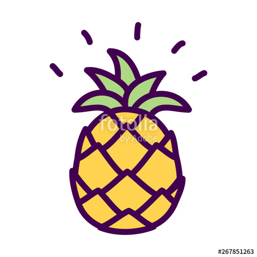 svg Pinapple vector simple. Pineapple cute doodle drawing