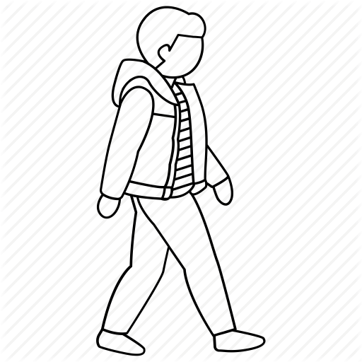 clip art black and white library Man Walking Drawing at GetDrawings