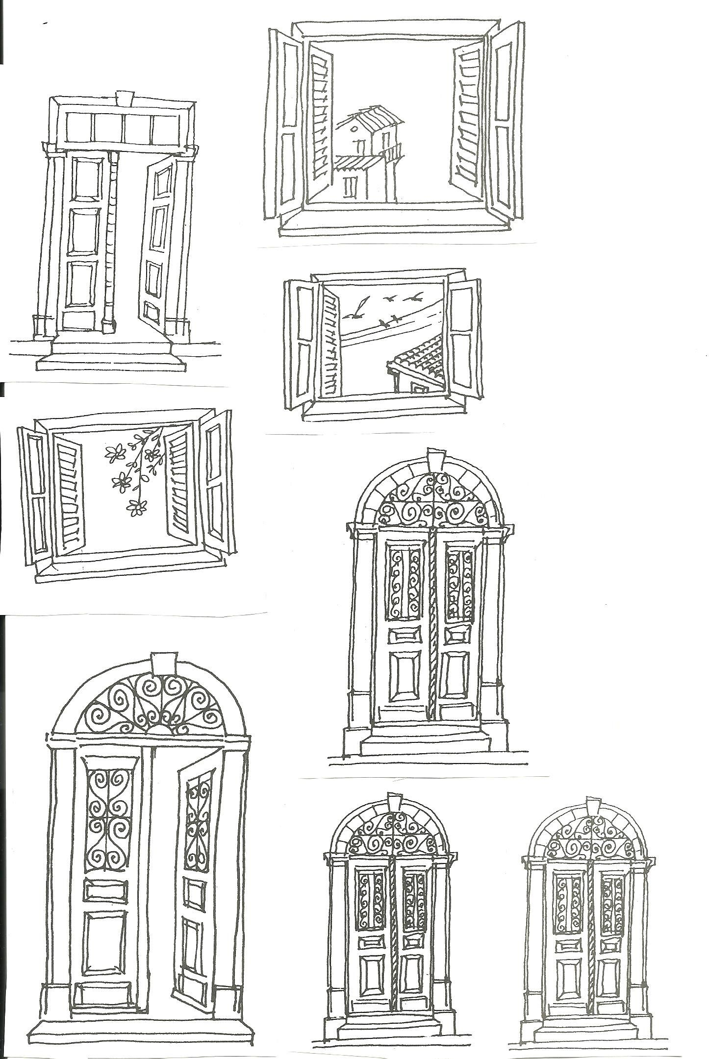 jpg Windows drawing. Cyprus architecture doors and