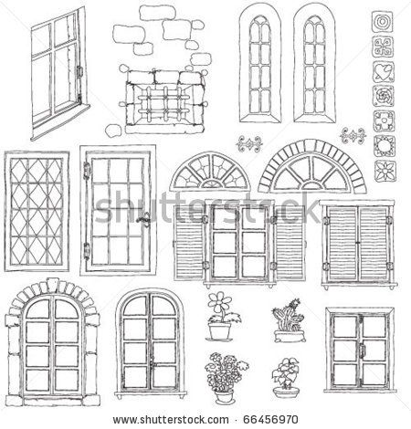 png transparent library Cartoon sketch stock vector. Windows drawing