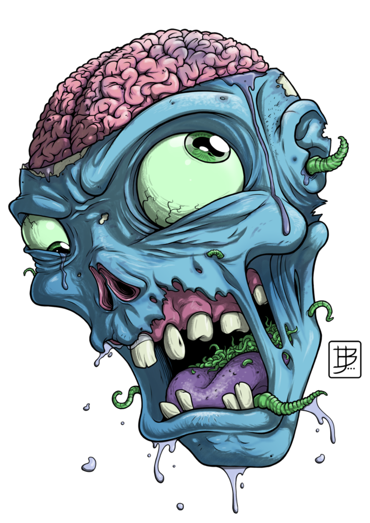 clip royalty free library Zombie Head Drawing