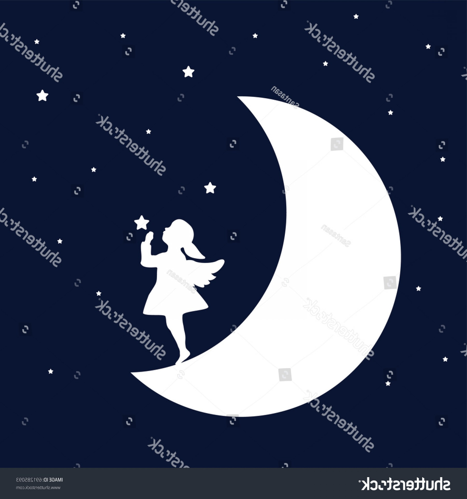 image black and white stock Dream vector. Night angel girl concept.