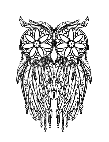 black and white stock Owl Dreamcatcher Tattoo by Filasis