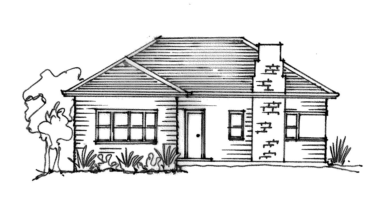 png stock Weatherboard house sketch in