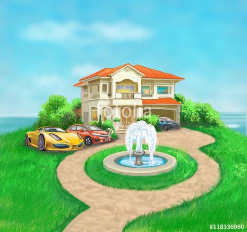 picture free Beautiful Villa and fountain
