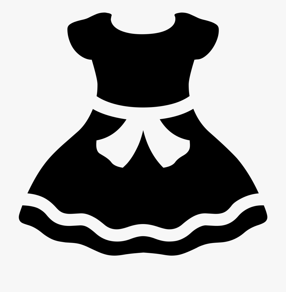 clipart black and white stock Emoji clothes black and. Dress clipart.