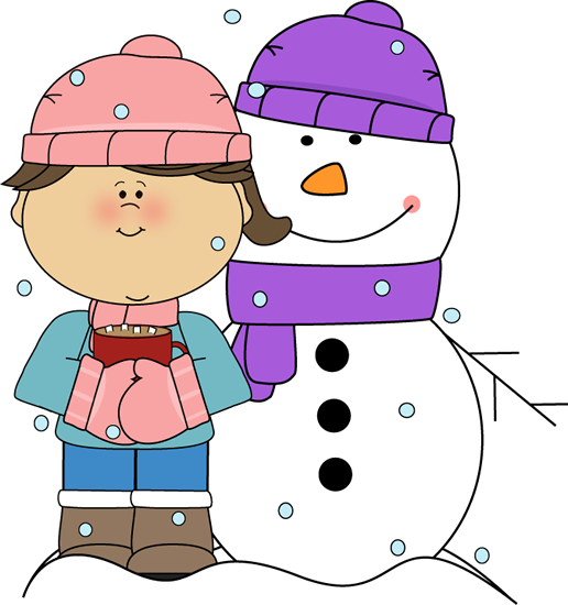 picture free stock Girl Drinking Cocoa with Snowman Clip Art