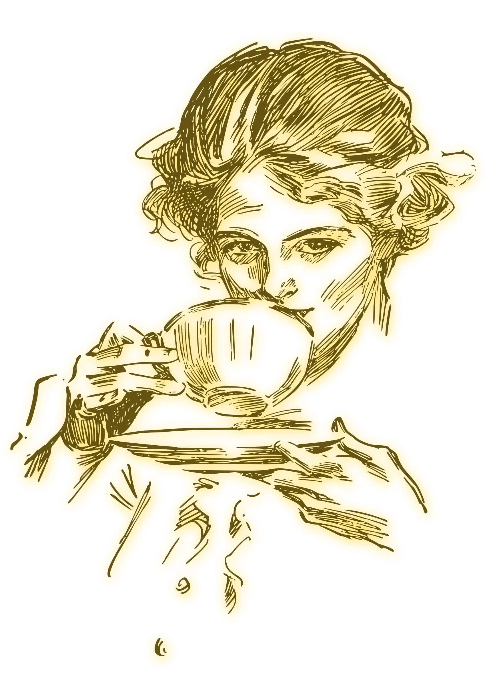 png freeuse stock Woman or tea blur. Drinking coffee clipart