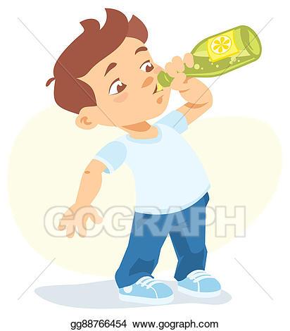 freeuse Drinking drawing. Stock illustration boy soft