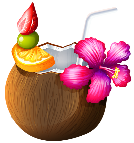jpg library library Exotic coconut cocktail png. Tiki clipart pineapple drink