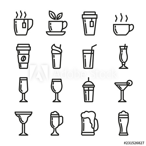 png freeuse Drinks vector. Icons set contains cup