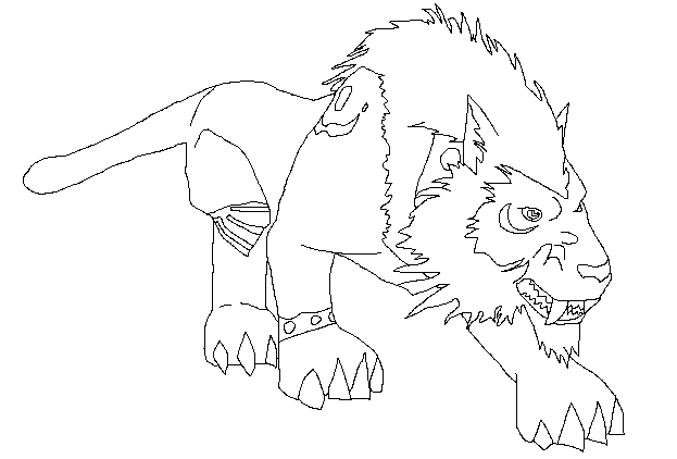 freeuse library WoW Worgen Druid Cat Lineart by Lineart