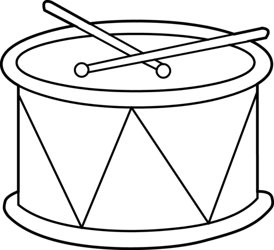 png black and white Drum Clipart by Hallow Graphics
