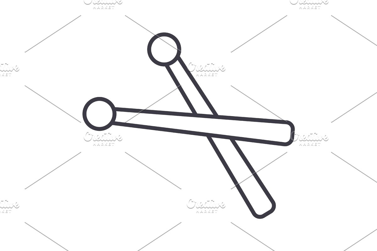 royalty free stock Drumsticks vector. Line icon sign illustration.