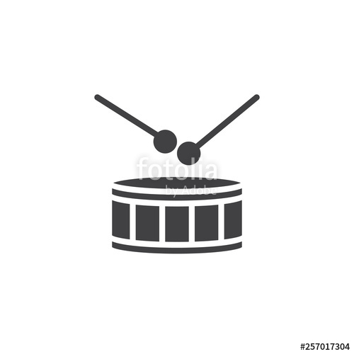 clipart library stock Drumsticks vector. Drum and icon filled.