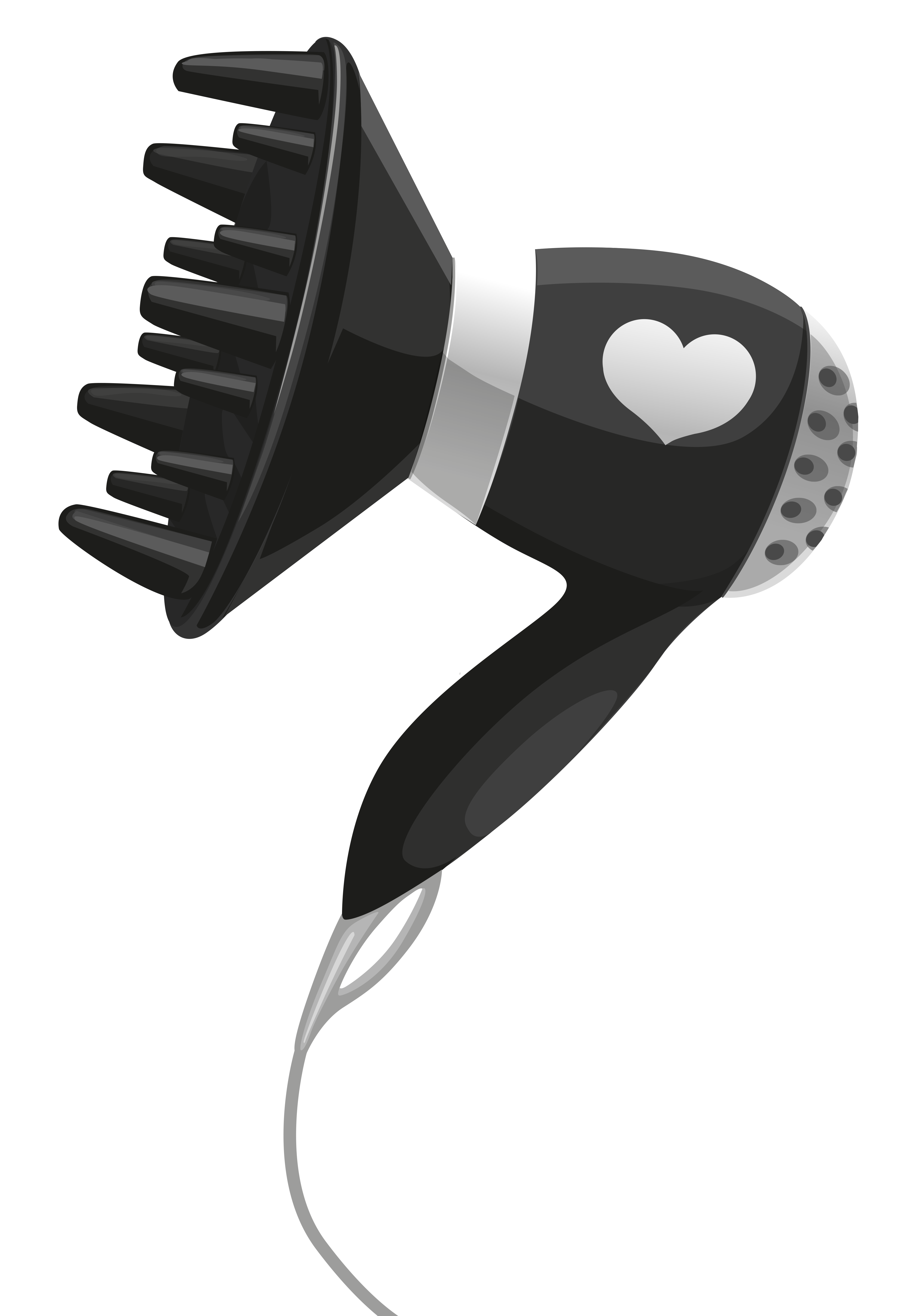 image library stock Black hairdryer with heart. Dryer clipart transparent background