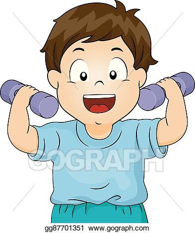 jpg royalty free stock Dumbbells clipart kid. Eps illustration boy toddler.