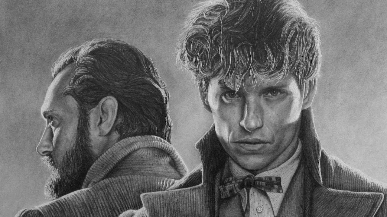 svg freeuse download Dumbledore drawing grindelwald. Pencil portrait of newt