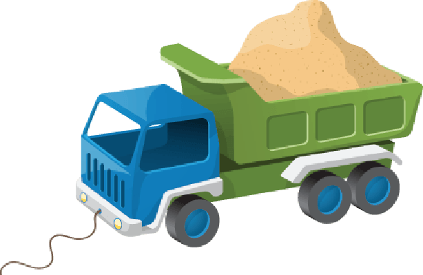 banner transparent library Colorful Dump Truck Toy with Sand Illustration